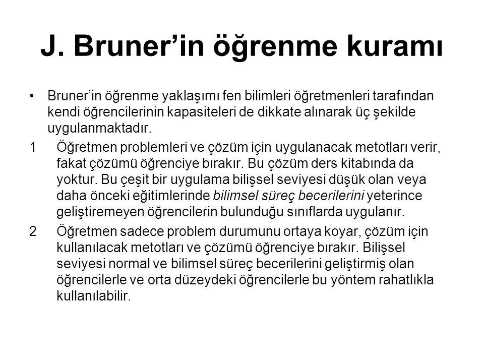 J. Bruner'in öğrenme kuramı Bruner'in öğrenme yaklaşımı fen bilimleri öğretmenleri tarafından kendi öğrencilerinin kapasiteleri de dikkate alınarak üç