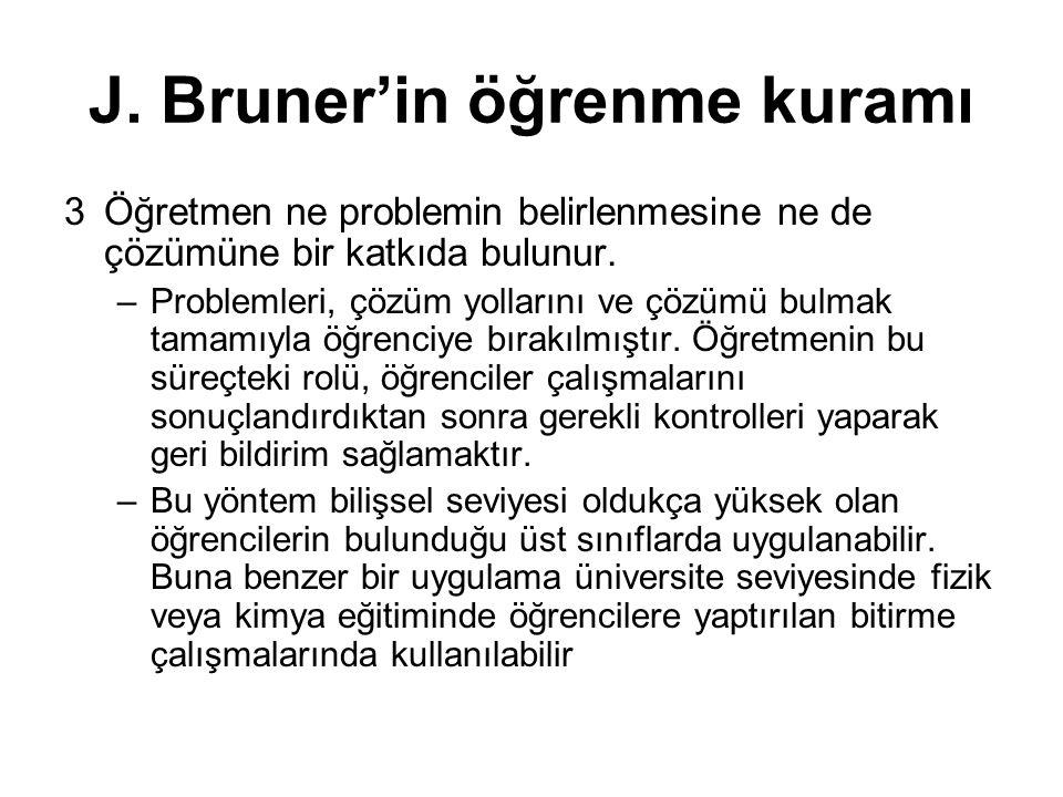 J. Bruner'in öğrenme kuramı 3Öğretmen ne problemin belirlenmesine ne de çözümüne bir katkıda bulunur. –Problemleri, çözüm yollarını ve çözümü bulmak t
