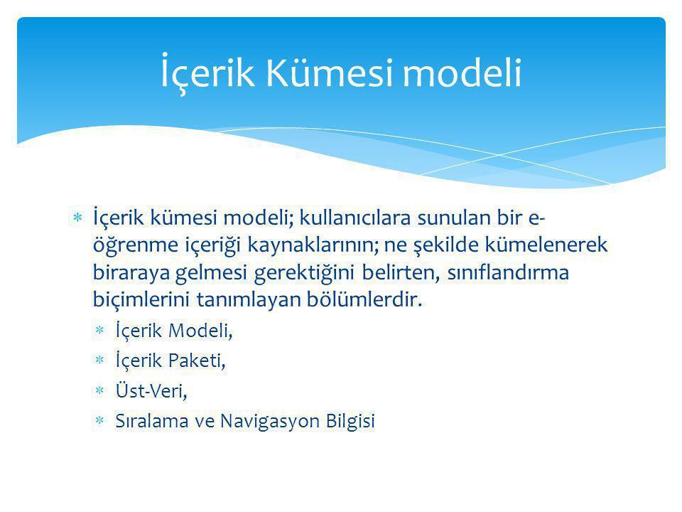  İçerik kümesi modeli; kullanıcılara sunulan bir e- öğrenme içeriği kaynaklarının; ne şekilde kümelenerek biraraya gelmesi gerektiğini belirten, sınıflandırma biçimlerini tanımlayan bölümlerdir.