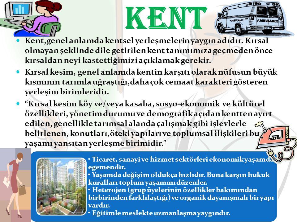 Kent,genel anlamda kentsel yerleşmelerin yaygın adıdır. Kırsal olmayan şeklinde dile getirilen kent tanımımıza geçmeden önce kırsaldan neyi kastettiği