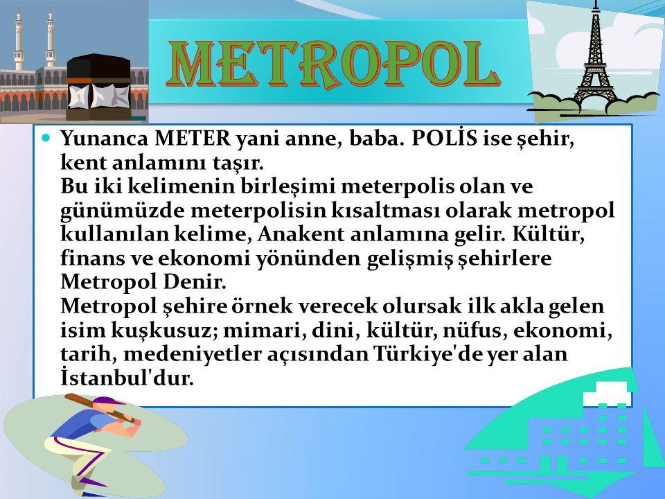 Yunanca METER yani anne, baba. POLİS ise şehir, kent anlamını taşır. Bu iki kelimenin birleşimi meterpolis olan ve günümüzde meterpolisin kısaltması o