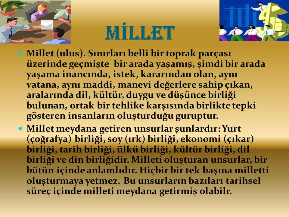 M İ LLET Millet (ulus).