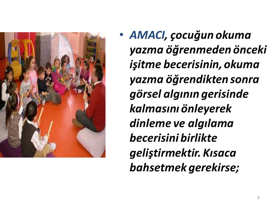 AMACI, çocuğun okuma yazma öğrenmeden önceki işitme becerisinin, okuma yazma öğrendikten sonra görsel algının gerisinde kalmasını önleyerek dinleme ve