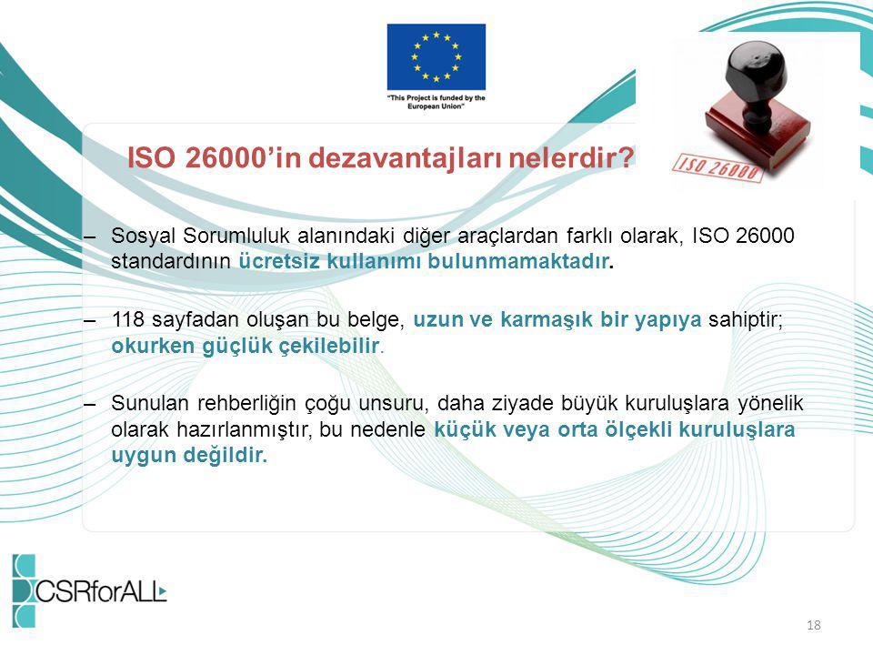 18 ISO 26000'in dezavantajları nelerdir? –Sosyal Sorumluluk alanındaki diğer araçlardan farklı olarak, ISO 26000 standardının ücretsiz kullanımı bulun