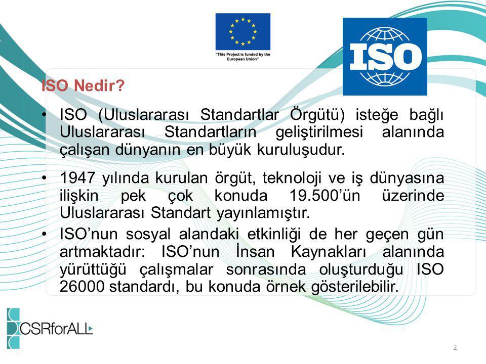 2 ISO Nedir? ISO (Uluslararası Standartlar Örgütü) isteğe bağlı Uluslararası Standartların geliştirilmesi alanında çalışan dünyanın en büyük kuruluşud