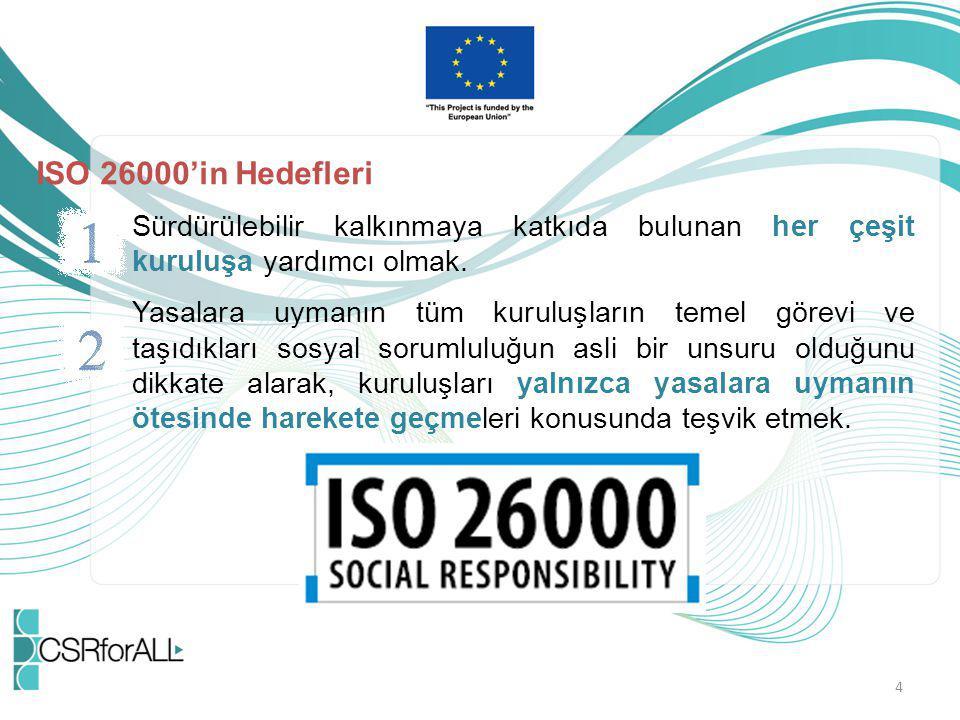 ISO 26000'in Hedefleri Sürdürülebilir kalkınmaya katkıda bulunan her çeşit kuruluşa yardımcı olmak. Yasalara uymanın tüm kuruluşların temel görevi ve
