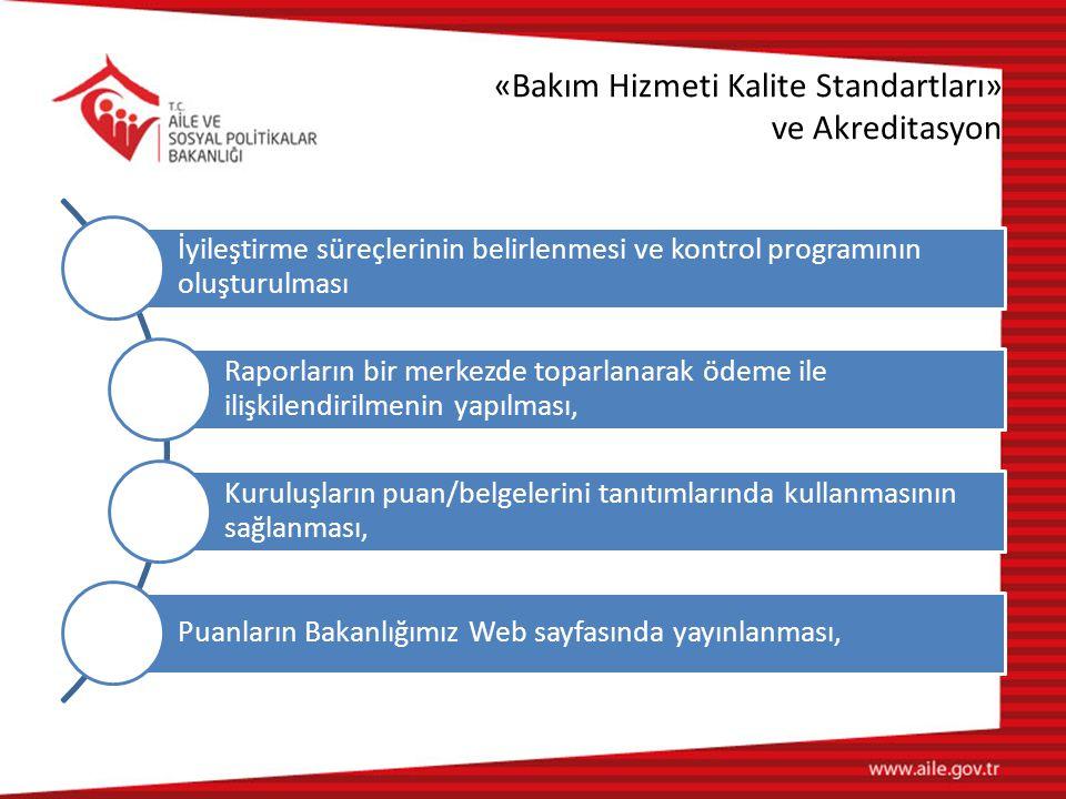 «Bakım Hizmeti Kalite Standartları» ve Akreditasyon İyileştirme süreçlerinin belirlenmesi ve kontrol programının oluşturulması Raporların bir merkezde