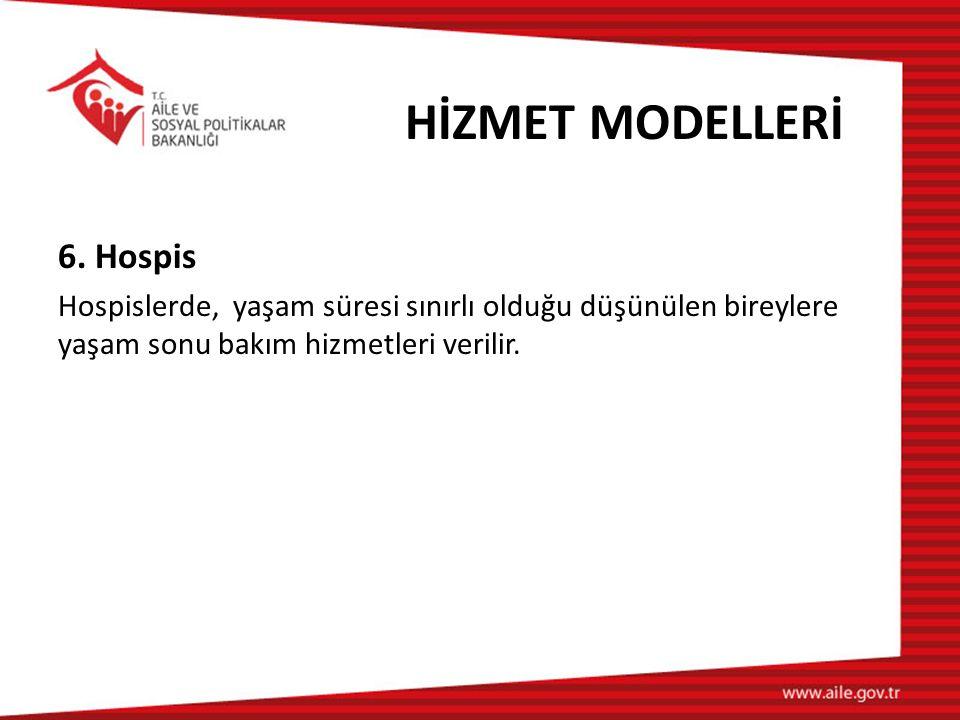 HİZMET MODELLERİ 6. Hospis Hospislerde, yaşam süresi sınırlı olduğu düşünülen bireylere yaşam sonu bakım hizmetleri verilir.