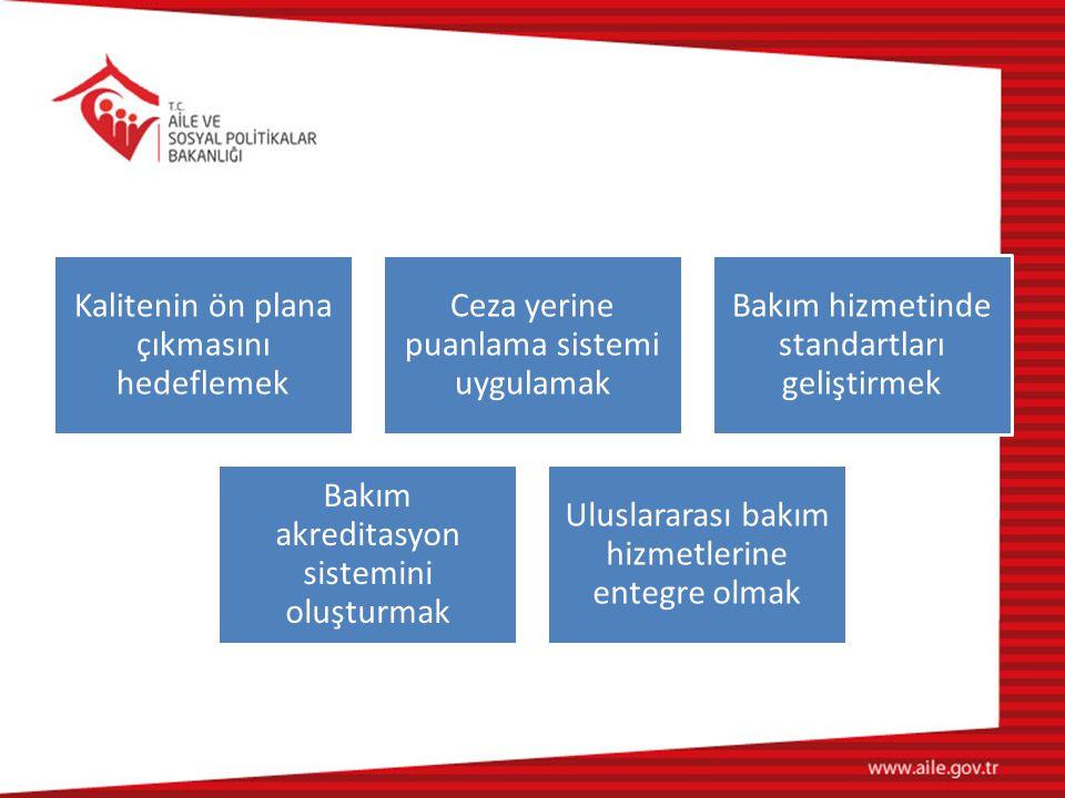 Kalitenin ön plana çıkmasını hedeflemek Ceza yerine puanlama sistemi uygulamak Bakım hizmetinde standartları geliştirmek Bakım akreditasyon sistemini