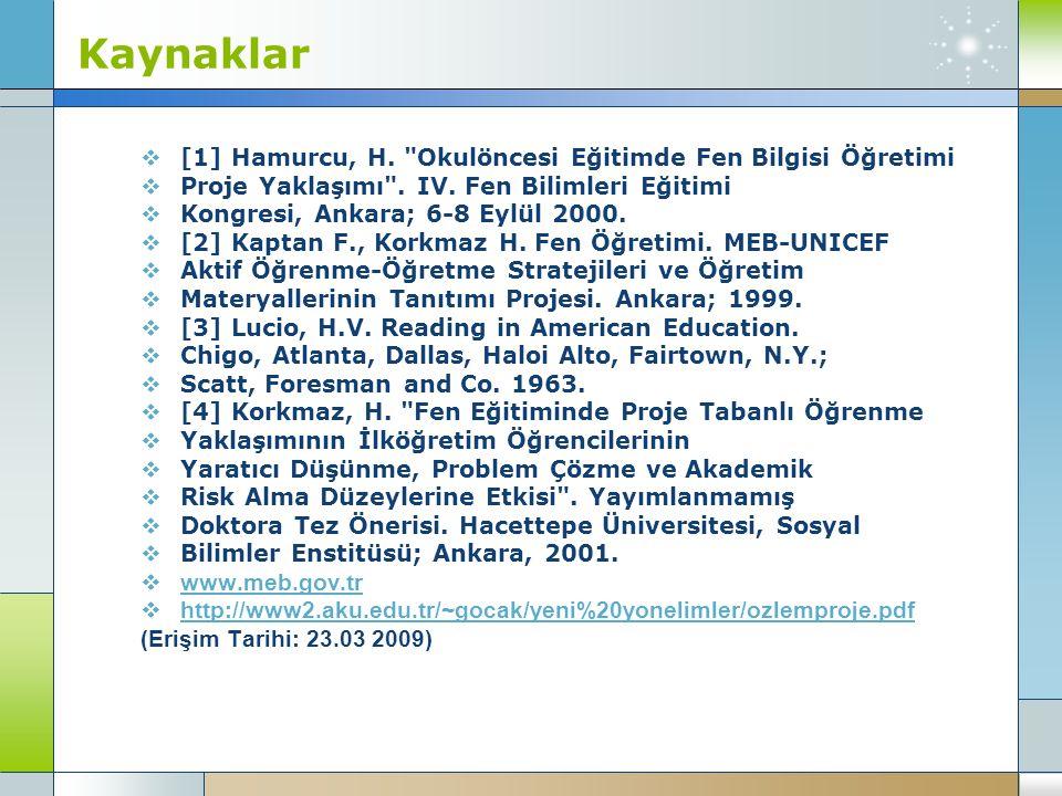 Kaynaklar  [1] Hamurcu, H.