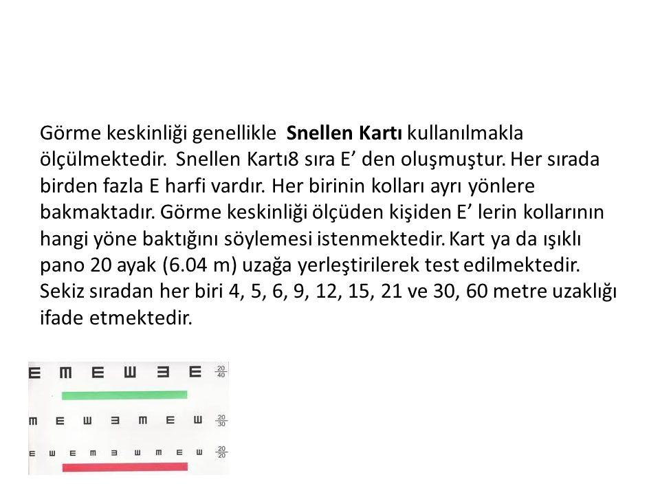 Görme keskinliği genellikle Snellen Kartı kullanılmakla ölçülmektedir. Snellen Kartı8 sıra E' den oluşmuştur. Her sırada birden fazla E harfi vardır.