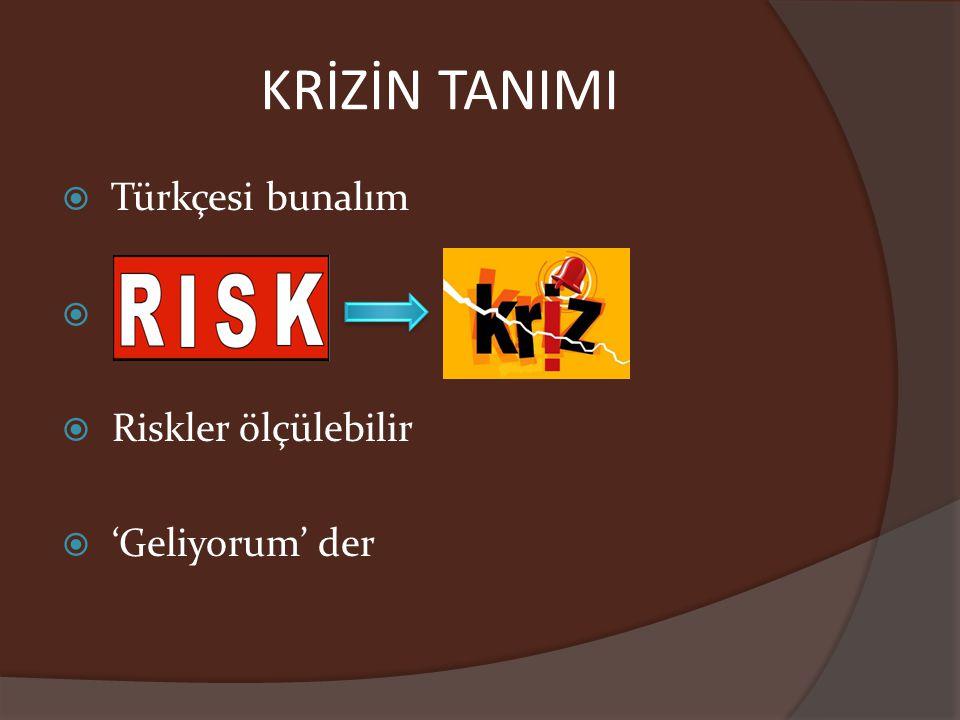 KRİZİN TANIMI  Türkçesi bunalım   Riskler ölçülebilir  'Geliyorum' der