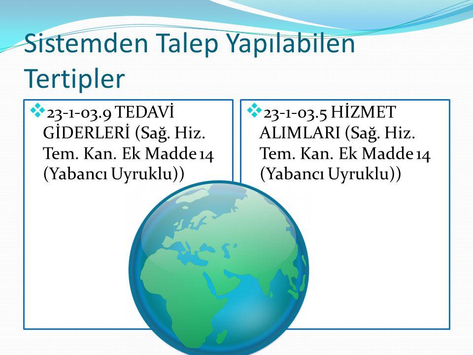 Sistemden Talep Yapılabilen Tertipler  23-1-03.9 TEDAVİ GİDERLERİ (Sağ. Hiz. Tem. Kan. Ek Madde 14 (Yabancı Uyruklu))  23-1-03.5 HİZMET ALIMLARI (Sa