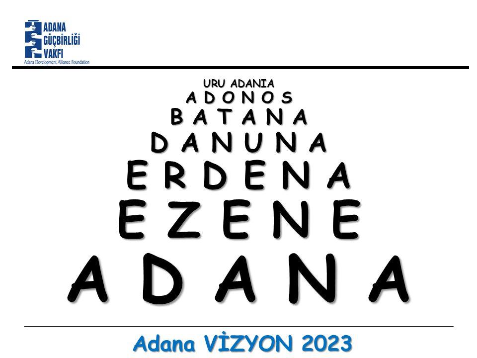 Vizyon… Türkiye'nin 2023 Hedefi Dünyanın en büyük 10 ekonomisi arasına girmek Kişi başına geliri 25 bin ABD dolarına yükseltmek Adana Vizyon 2023, 19 Temmuz 2012