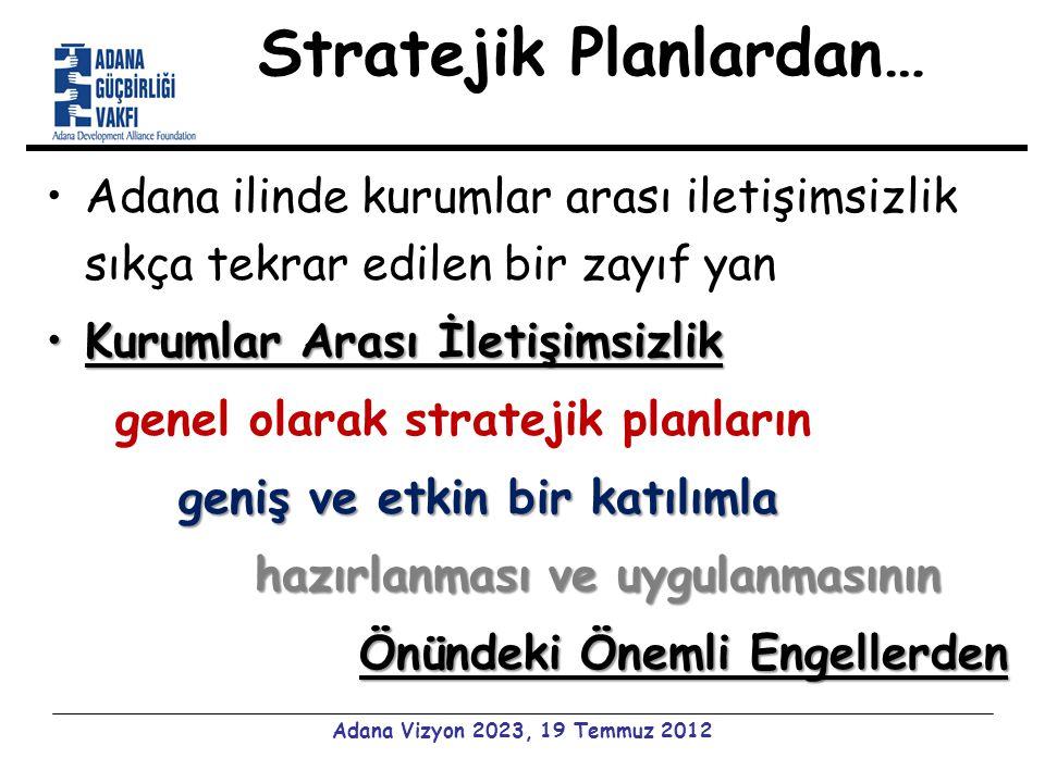 Stratejik Planlardan… Adana ilinde kurumlar arası iletişimsizlik sıkça tekrar edilen bir zayıf yan Kurumlar Arası İletişimsizlikKurumlar Arası İletişimsizlik genel olarak stratejik planların geniş ve etkin bir katılımla hazırlanması ve uygulanmasının Önündeki Önemli Engellerden Adana Vizyon 2023, 19 Temmuz 2012