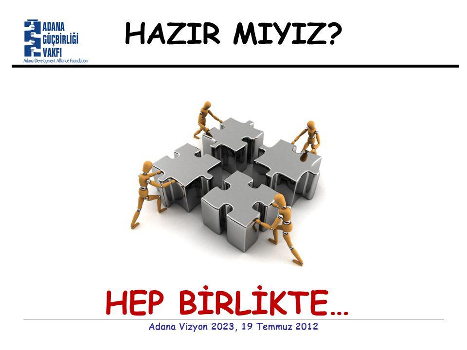 HAZIR MIYIZ Adana Vizyon 2023, 19 Temmuz 2012 HEP BİRLİKTE…