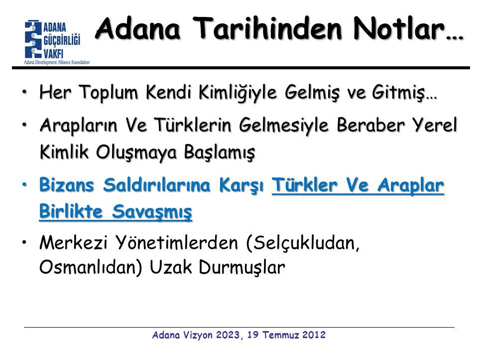 HAZIR MIYIZ? Adana Vizyon 2023, 19 Temmuz 2012 HEP BİRLİKTE…