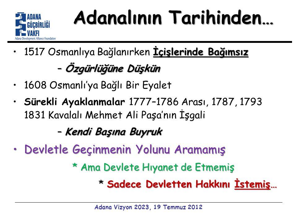 Adanalının Tarihinden… İçişlerinde Bağımsız1517 Osmanlıya Bağlanırken İçişlerinde Bağımsız –Özgürlüğüne Düşkün 1608 Osmanlı'ya Bağlı Bir Eyalet Sürekli Ayaklanmalar 1777–1786 Arası, 1787, 1793 1831 Kavalalı Mehmet Ali Paşa'nın İşgali –Kendi Başına Buyruk Devletle Geçinmenin Yolunu AramamışDevletle Geçinmenin Yolunu Aramamış * Ama Devlete Hıyanet de Etmemiş * Sadece Devletten Hakkını İstemiş… * Sadece Devletten Hakkını İstemiş… Adana Vizyon 2023, 19 Temmuz 2012