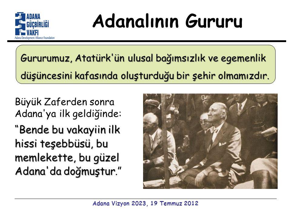 Adanalının Gururu Adana Vizyon 2023, 19 Temmuz 2012 Büyük Zaferden sonra Adana ya ilk geldiğinde: Bende bu vakayiin ilk hissi teşebbüsü, bu memlekette, bu güzel Adana da doğmuştur Bende bu vakayiin ilk hissi teşebbüsü, bu memlekette, bu güzel Adana da doğmuştur. Gururumuz, Atatürk ün ulusal bağımsızlık ve egemenlik düşüncesini kafasında oluşturduğu bir şehir olmamızdır.