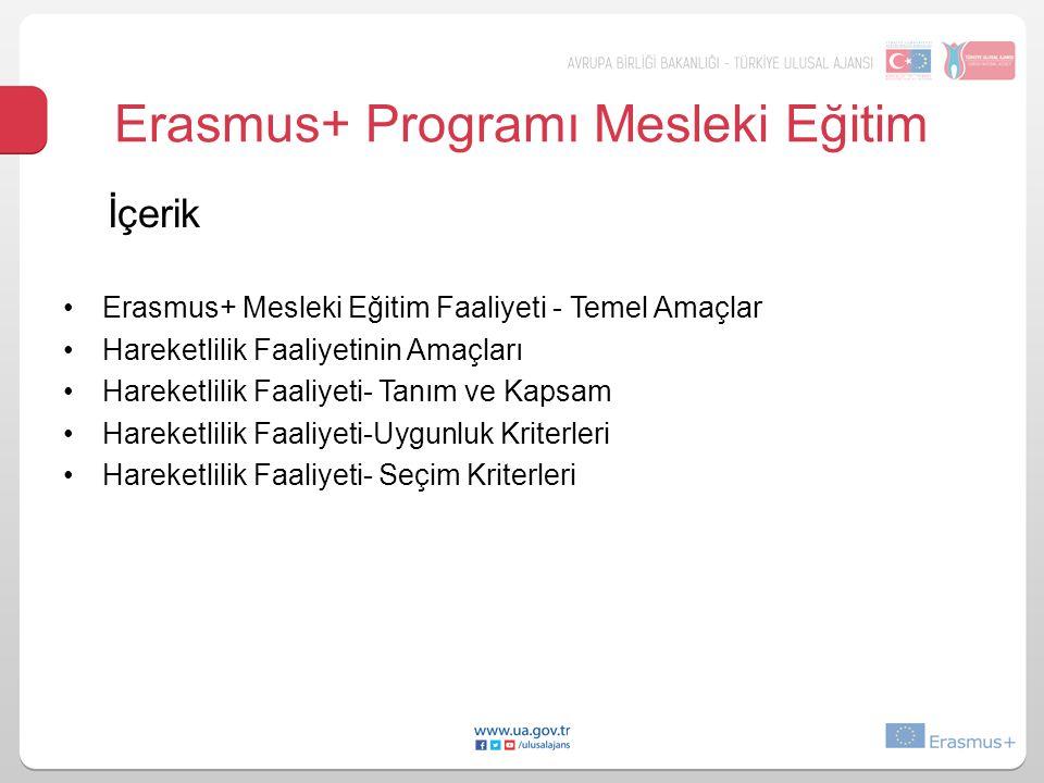 Erasmus+ Programı Mesleki Eğitim Ulusal Ajans tarafından yürütülen mesleki eğitim faaliyeti, Hareketlilik (KA1) Stratejik Ortaklıklar (KA2) olmak üzere iki alt faaliyetten oluşur.
