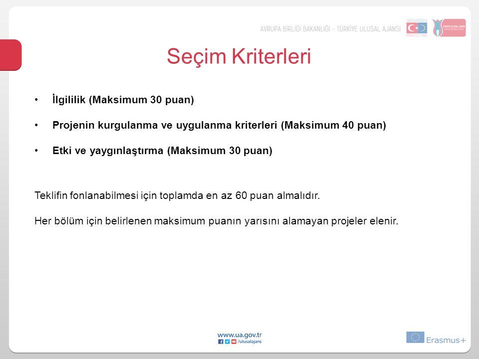 Seçim Kriterleri İlgililik (Maksimum 30 puan) Projenin kurgulanma ve uygulanma kriterleri (Maksimum 40 puan) Etki ve yaygınlaştırma (Maksimum 30 puan)