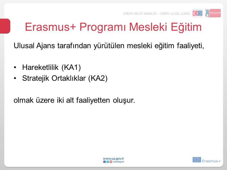 Erasmus+ Programı Mesleki Eğitim Ulusal Ajans tarafından yürütülen mesleki eğitim faaliyeti, Hareketlilik (KA1) Stratejik Ortaklıklar (KA2) olmak üzer