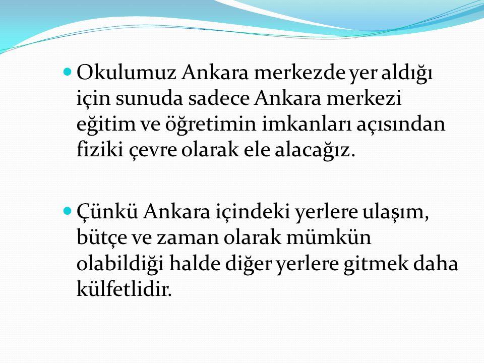 Okulumuz Ankara merkezde yer aldığı için sunuda sadece Ankara merkezi eğitim ve öğretimin imkanları açısından fiziki çevre olarak ele alacağız. Çünkü