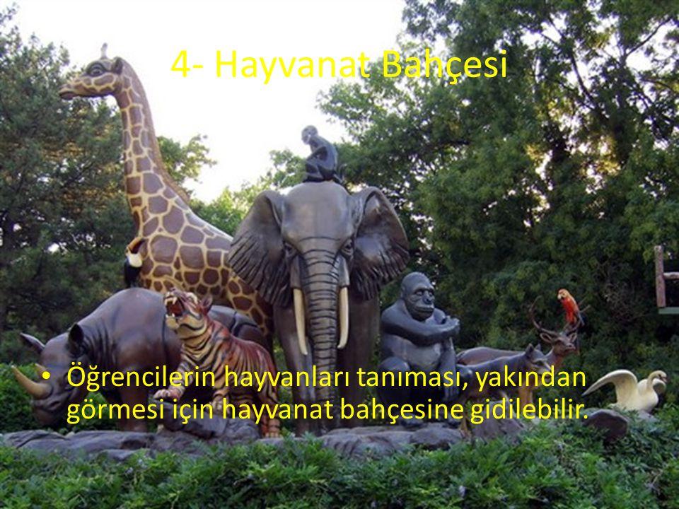 4- Hayvanat Bahçesi Öğrencilerin hayvanları tanıması, yakından görmesi için hayvanat bahçesine gidilebilir.
