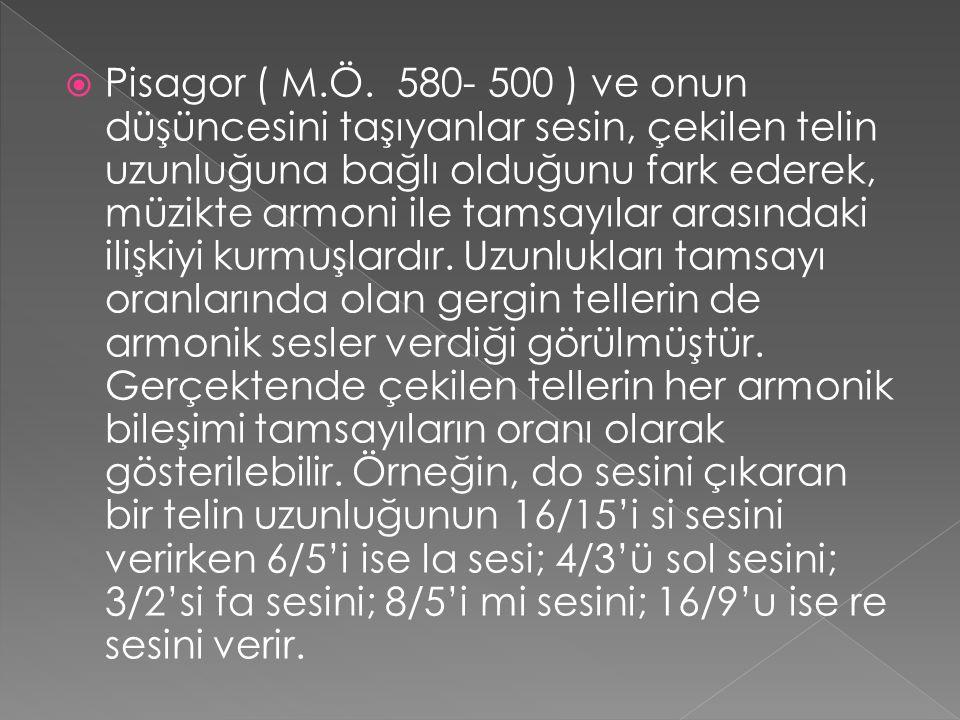  Pisagor ( M.Ö. 580- 500 ) ve onun düşüncesini taşıyanlar sesin, çekilen telin uzunluğuna bağlı olduğunu fark ederek, müzikte armoni ile tamsayılar a