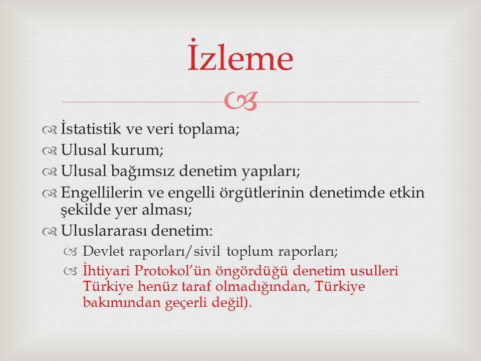   İstatistik ve veri toplama;  Ulusal kurum;  Ulusal bağımsız denetim yapıları;  Engellilerin ve engelli örgütlerinin denetimde etkin şekilde yer alması;  Uluslararası denetim:  Devlet raporları/sivil toplum raporları;  İhtiyari Protokol'ün öngördüğü denetim usulleri Türkiye henüz taraf olmadığından, Türkiye bakımından geçerli değil).