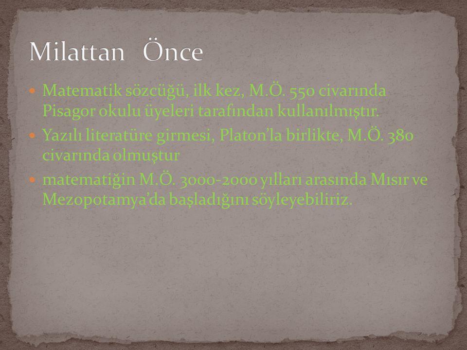 Matematik sözcüğü, ilk kez, M.Ö. 550 civarında Pisagor okulu üyeleri tarafından kullanılmıştır. Yazılı literatüre girmesi, Platon'la birlikte, M.Ö. 38
