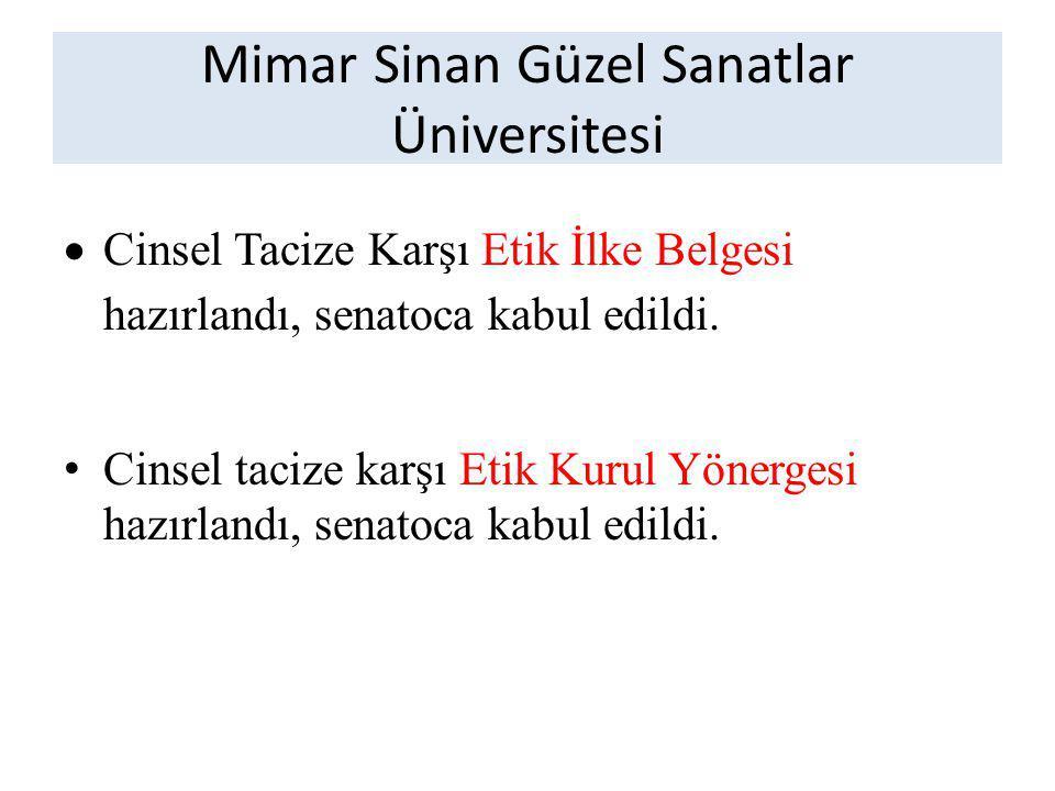 Mimar Sinan Güzel Sanatlar Üniversitesi  Cinsel Tacize Karşı Etik İlke Belgesi hazırlandı, senatoca kabul edildi.