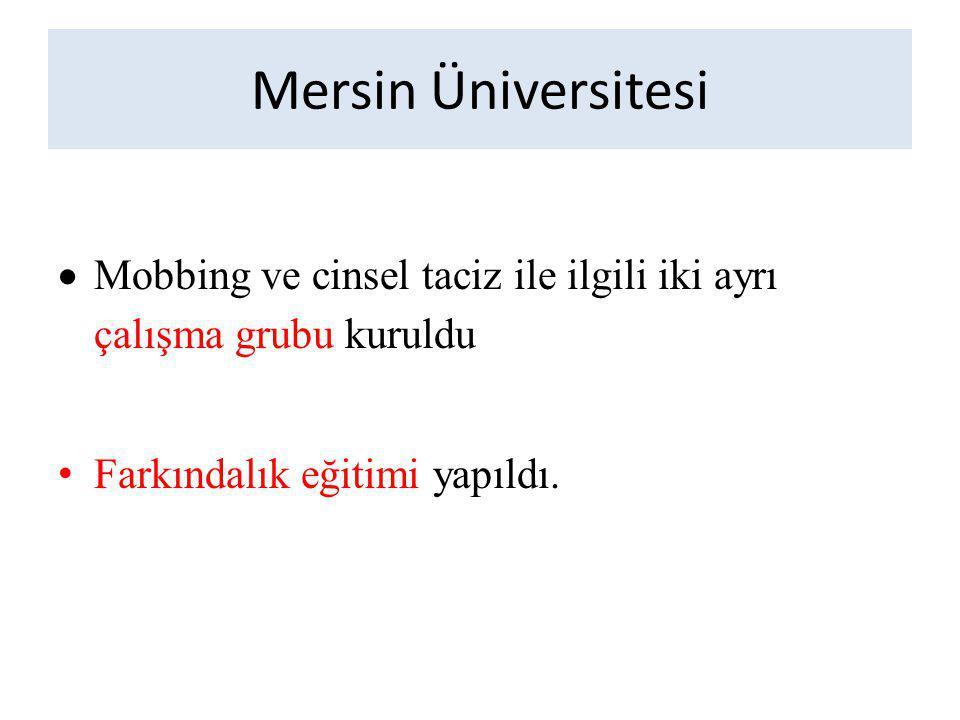Mersin Üniversitesi  Mobbing ve cinsel taciz ile ilgili iki ayrı çalışma grubu kuruldu Farkındalık eğitimi yapıldı.