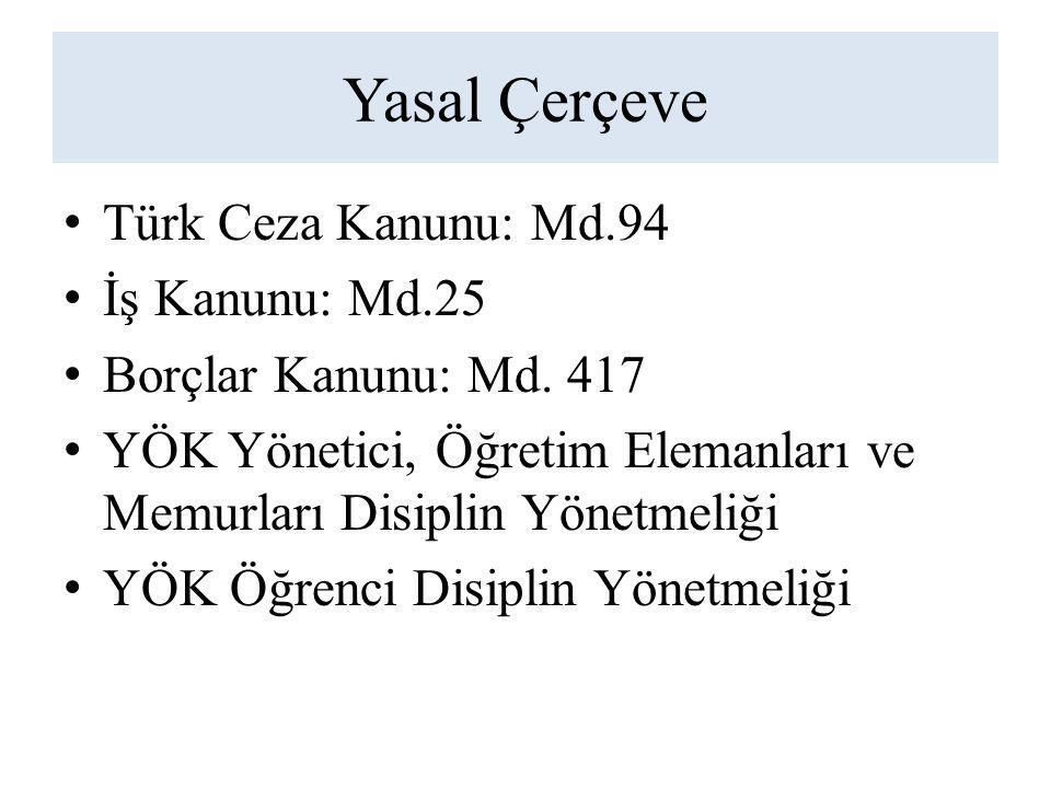 Yasal Çerçeve Türk Ceza Kanunu: Md.94 İş Kanunu: Md.25 Borçlar Kanunu: Md.