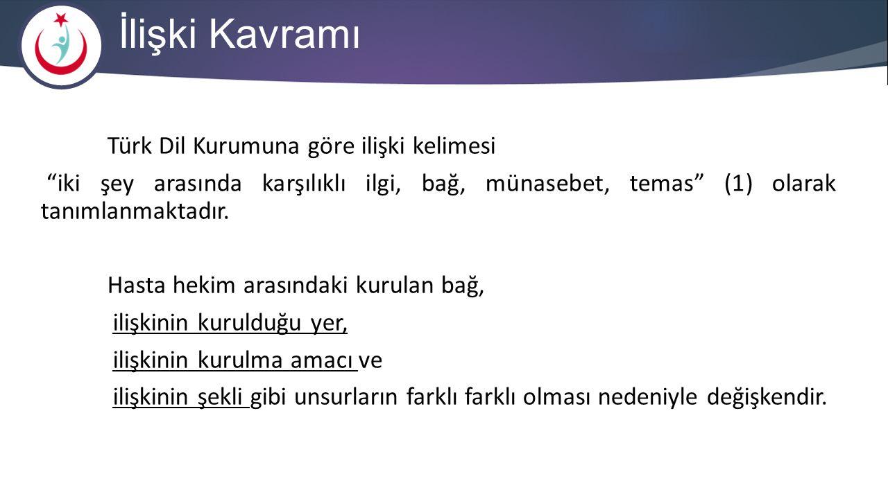 """İlişki Kavramı Türk Dil Kurumuna göre ilişki kelimesi """"iki şey arasında karşılıklı ilgi, bağ, münasebet, temas"""" (1) olarak tanımlanmaktadır. Hasta hek"""