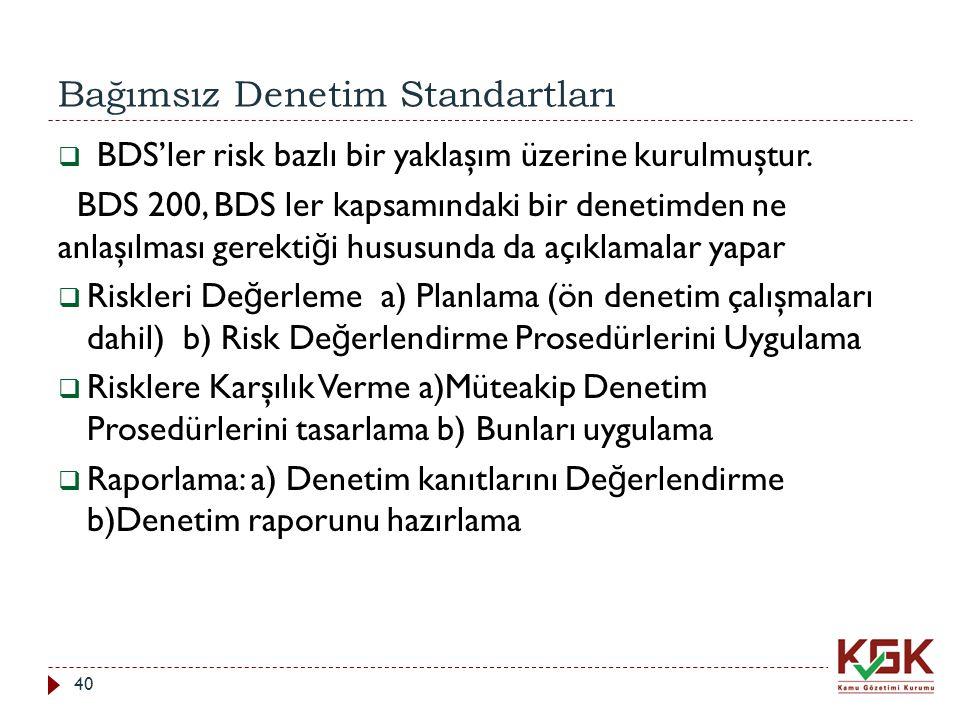 Bağımsız Denetim Standartları 40  BDS'ler risk bazlı bir yaklaşım üzerine kurulmuştur. BDS 200, BDS ler kapsamındaki bir denetimden ne anlaşılması ge
