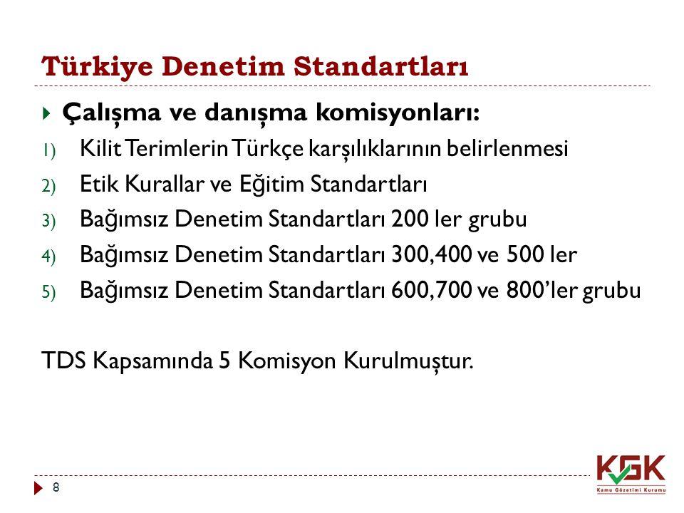Türkiye Denetim Standartları  Çalışma ve danışma komisyonları: 1) Kilit Terimlerin Türkçe karşılıklarının belirlenmesi 2) Etik Kurallar ve E ğ itim S