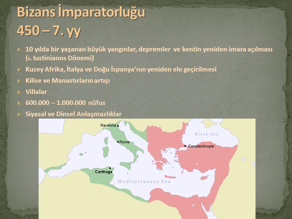 10 yılda bir yaşanan büyük yangınlar, depremler ve kentin yeniden imara açılması (ı. Iustinianos Dönemi) Kuzey Afrika, İtalya ve Doğu İspanya'nın yeni