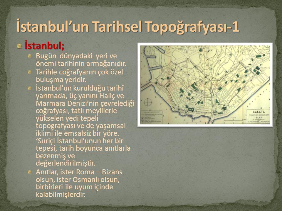 İstanbul; Bugün dünyadaki yeri ve önemi tarihinin armağanıdır. Tarihle coğrafyanın çok özel buluşma yeridir. İstanbul'un kurulduğu tarihî yarımada, üç
