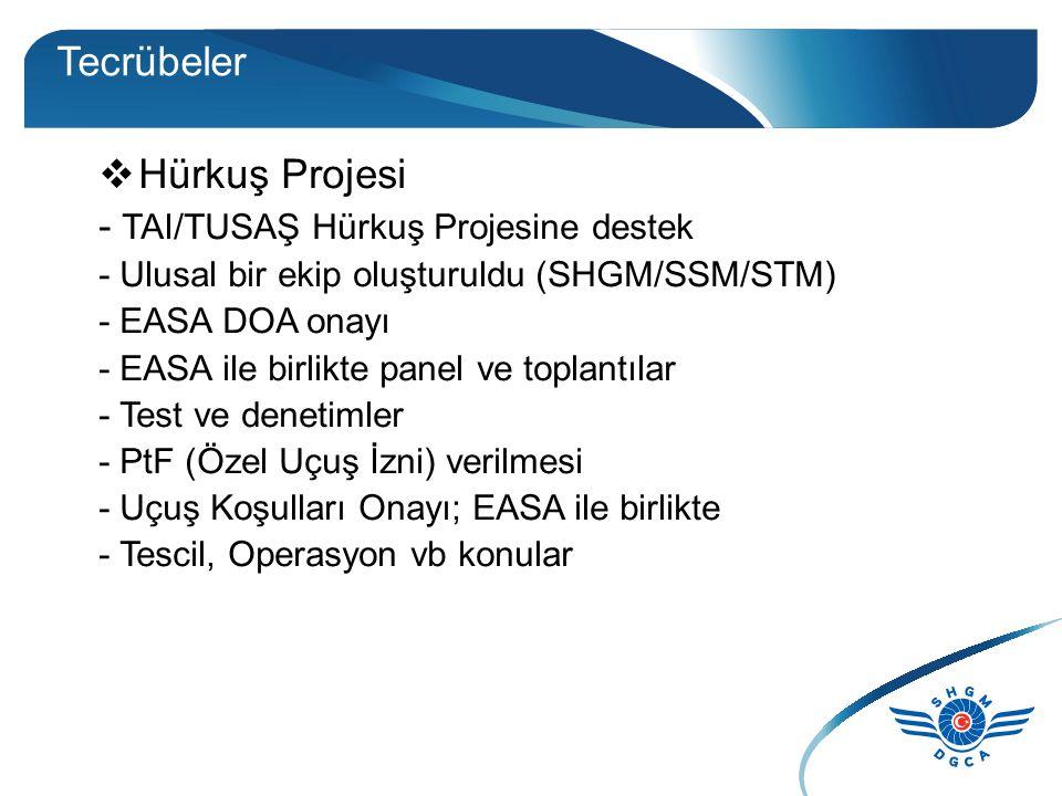 Tecrübeler  Hürkuş Projesi - TAI/TUSAŞ Hürkuş Projesine destek - Ulusal bir ekip oluşturuldu (SHGM/SSM/STM) - EASA DOA onayı - EASA ile birlikte panel ve toplantılar - Test ve denetimler - PtF (Özel Uçuş İzni) verilmesi - Uçuş Koşulları Onayı; EASA ile birlikte - Tescil, Operasyon vb konular