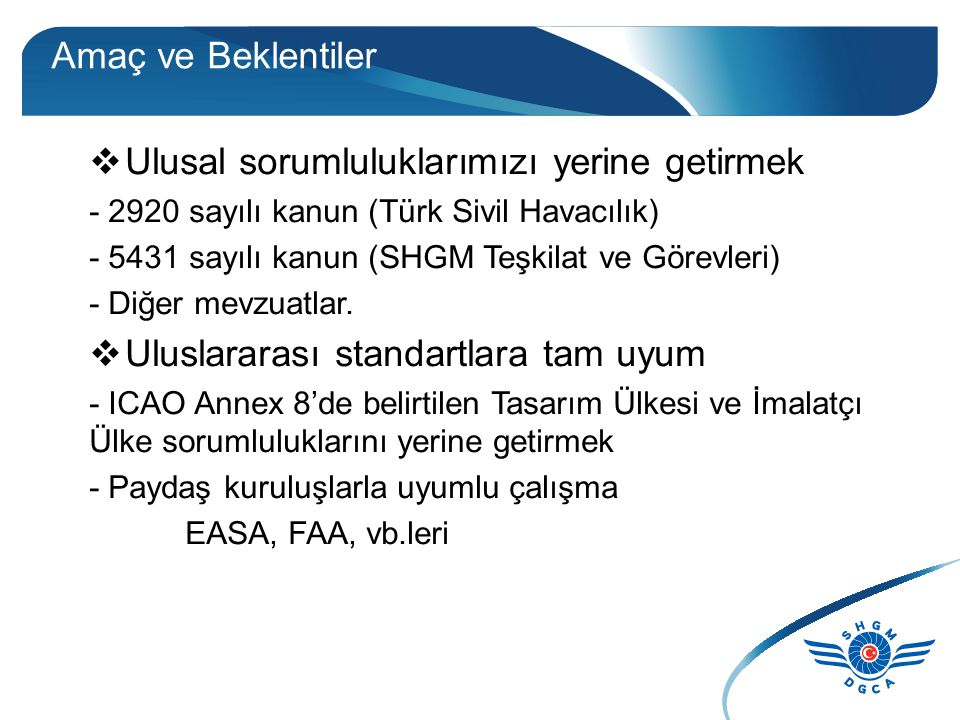 Amaç ve Beklentiler  Ulusal sorumluluklarımızı yerine getirmek - 2920 sayılı kanun (Türk Sivil Havacılık) - 5431 sayılı kanun (SHGM Teşkilat ve Görevleri) - Diğer mevzuatlar.