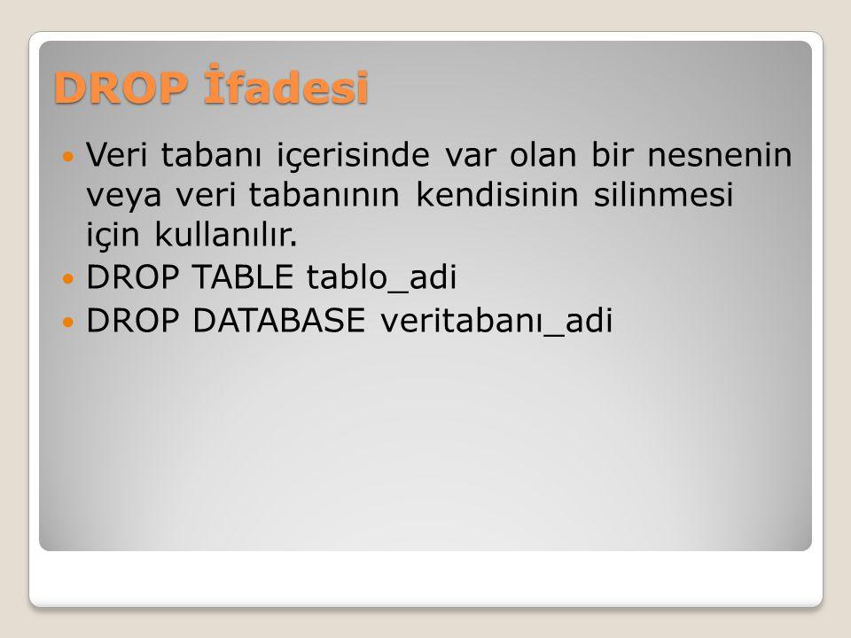 DROP İfadesi Veri tabanı içerisinde var olan bir nesnenin veya veri tabanının kendisinin silinmesi için kullanılır.