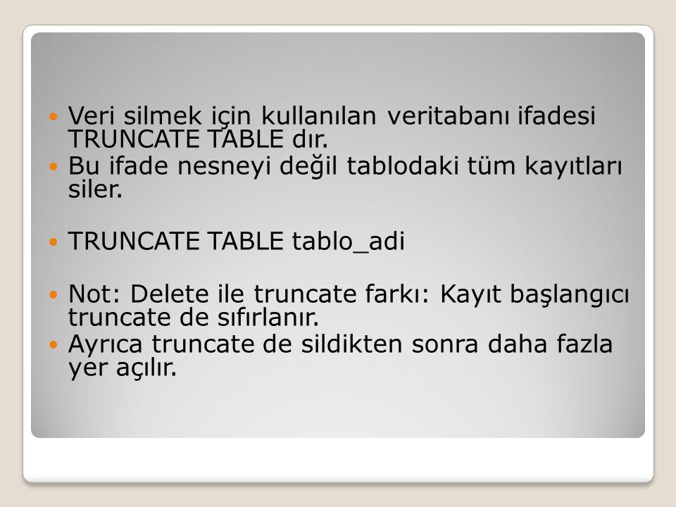 Veri silmek için kullanılan veritabanı ifadesi TRUNCATE TABLE dır.