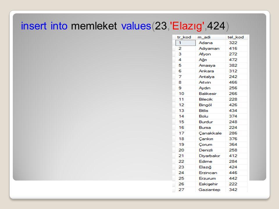 insert into memleket values(23, Elazıg ,424)