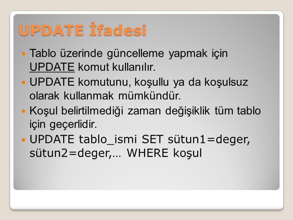 UPDATE İfadesi Tablo üzerinde güncelleme yapmak için UPDATE komut kullanılır.