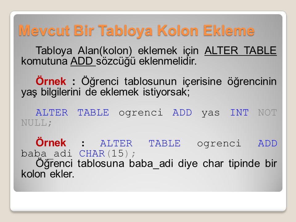 Mevcut Bir Tabloya Kolon Ekleme Tabloya Alan(kolon) eklemek için ALTER TABLE komutuna ADD sözcüğü eklenmelidir.