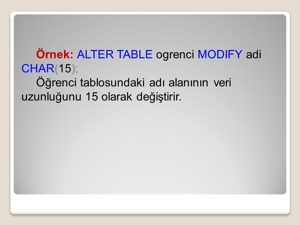 Örnek: ALTER TABLE ogrenci MODIFY adi CHAR(15); Öğrenci tablosundaki adı alanının veri uzunluğunu 15 olarak değiştirir.