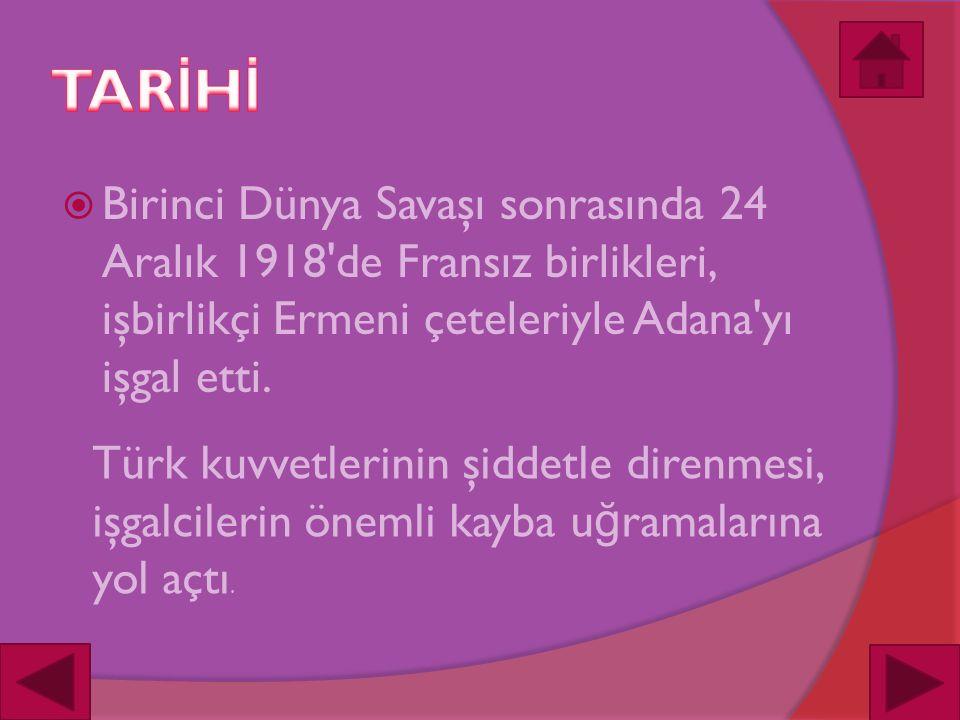  Birinci Dünya Savaşı sonrasında 24 Aralık 1918 de Fransız birlikleri, işbirlikçi Ermeni çeteleriyle Adana yı işgal etti.