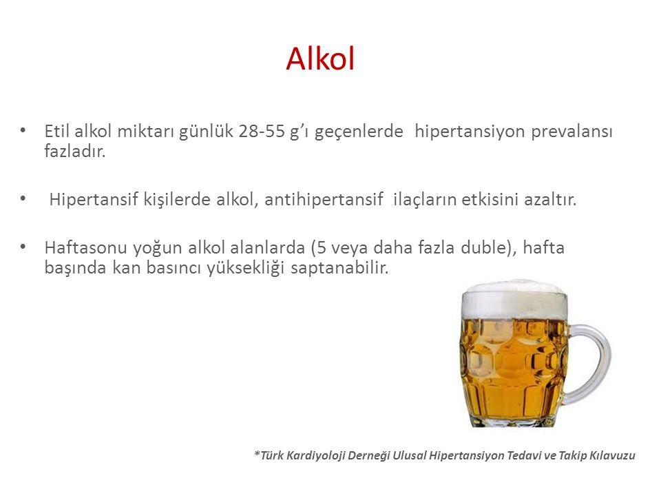 *Türk Kardiyoloji Derneği Ulusal Hipertansiyon Tedavi ve Takip Kılavuzu Etil alkol miktarı günlük 28-55 g'ı geçenlerde hipertansiyon prevalansı fazlad
