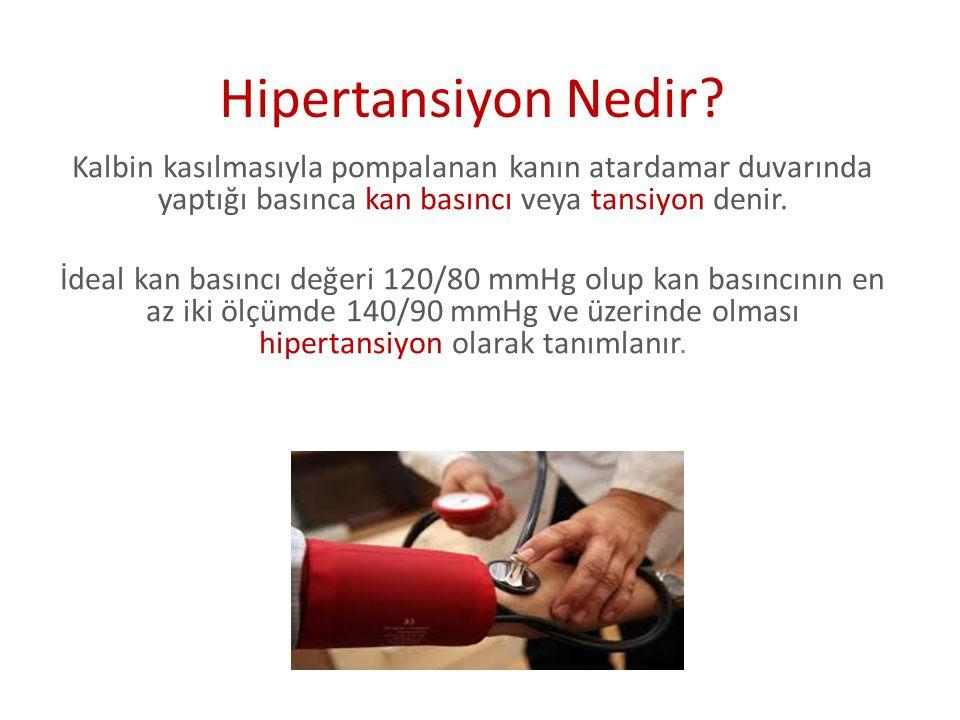 Hipertansiyon Nedir? Kalbin kasılmasıyla pompalanan kanın atardamar duvarında yaptığı basınca kan basıncı veya tansiyon denir. İdeal kan basıncı değer
